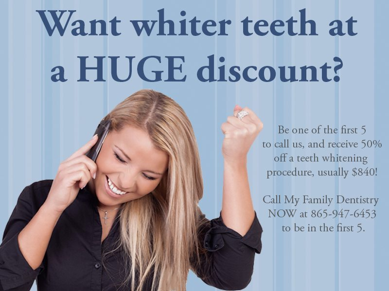 ATTENTION: 50% off teeth whitening to the first 5 people to call!
